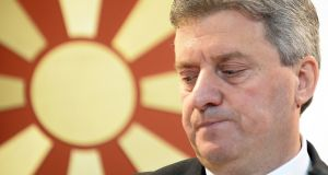 Macedonian president Gjorge Ivanov: there is a rift between him and Macedonia's prime minister Zoran Zaev.  Photograph: Nake  Batev