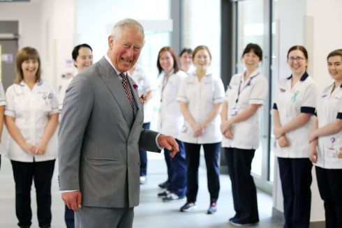 THE HAPPY PRINCE: Prince Charles meeting staff at the Omagh Hospital and Community Care Complex in Co Tyrone. His two-day visit to Northern Ireland began in Belfast on Tuesday. Photograph: Kelvin Boyes/Press Eye