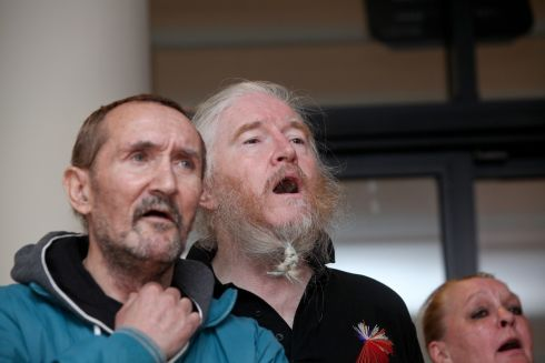 HIGH HOPES: Gerry O'Brien and David Collins of the High Hopes Choir at the launch of Dublin Simon Community's interim report into interventions for suicidality. Photograph: Maxwell's