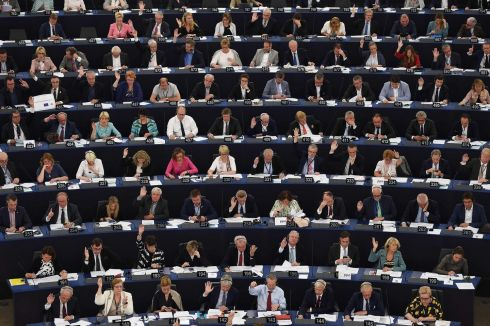 SHOW OF HANDS: Members of the European Parliament take part in a voting session in Strasbourg, France. Photograph: Frederick Florin/AFP/Getty Images