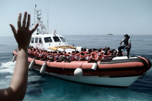 MIGRATION CRISIS: Medecins Sans Frontiers - Doctors Without Borders (MSF)/SOS Mediterranee rescuing migrants on an Italian coastguard ship following their transfer from the French NGO's ship 'Aquarius'. Photograph: MSF/SOS Mediterranee/AFP/Karpov