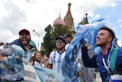 LET'S GET MESSI: Argentinian fans cheer outside the Kremlin in Moscow ahead of the World Cup. Photograph: Vasily Maximov/AFP/Getty Images