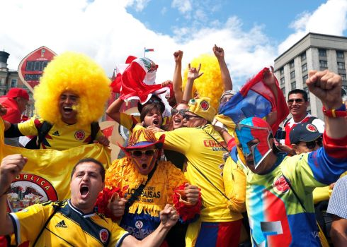 SPLASH OF COLOUR: Colombian fans near the Red Square in Moscow ahead of the FIFA World Cup. Photograph: Rungroj Yongrit/EPA
