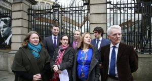 The Medical Alliance for a No Vote campaigning at the Dáil in March. 'Enabling conscientious objection to abortion for medical professionals is not considered controversial in Britain and Ireland – but it should be.' File photograph: Nick Bradshaw