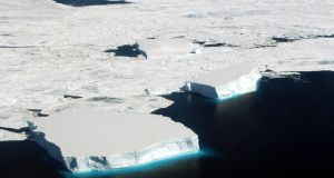Icebergs in the northern Weddell Sea off Antarctica:  ice loss is speeding up and adding even more to rising sea levels. Photograph: John Sonntag/Nasa via The New York Times