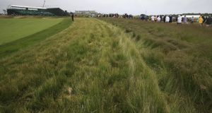 Varying cuts of grass in increasing heights away from the fairway on the 16th hole at Shinnecock Hills, venue of the 118th US Open in Southampton, New York. Photograph: TannenMaury/EPA