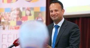 Leo Varadkar launches Féile An Phobail at St Mary's University College, Belfast last Friday as part of his visit to Northern Ireland. Photograph: Laura Hutton/PA Wire