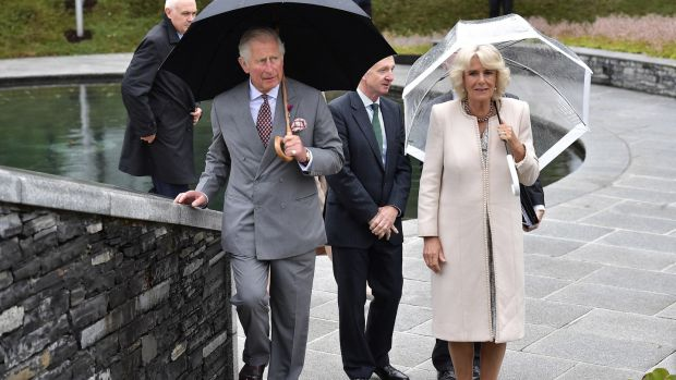 Prince Charles, Prince of Wales and Camilla, Duchess of Cornwall mark the 20th anniversary of the Omagh bombing at Memorial Garden in Omagh, Northern Ireland. Photograph: Charles McQuillan/Getty Images