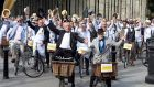 Graham Wilkinson and Paul Kennedy lead the 25th annual Bloomsday Bike Rally in Dublin. Photograph: Cyril Byrne