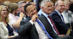 An Taoiseach Leo Varadkar at the launch of Feile An Phobail at St Mary's University College, Belfast, Friday June 8th, 2018. Photograph: Laura Hutton/PA Wire