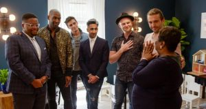 Queer Eye: Myles, Karamo Brown, Antoni Porowski, Tan France, Bobby Berk, Jonathan Van Ness and Tammye. Photograph courtesy of Netflix