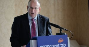 PTSB chief executive Jeremy Masding told the Oireachtas finance committee that the bank intended to reduce its NPLs to a single-digit percentage by March next year. Photograph: Dara Mac Dónaill