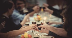 Flutes of Black Rock stout being served at the Long Table dinner in Dungarvan Brewery to celebrate Indie Beer Week