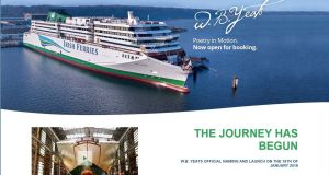 "The Irish Ferries Webpage on June 13th with an image of the ""WB Yeats"". The ferry company tried to rent another vessel of comparable size through international brokers"