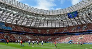 The Luzhniki Stadium in Moscow, refurbished for the World Cup, is the biggest venue in the 2018 tournament, with a capacity of 81,000 people. Photograph: Peter Powell/EPA