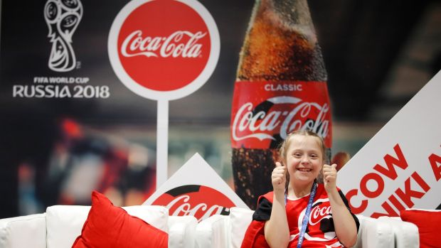 Coin toss girl Angelina Makarova in the Luzhniki Stadium in Moscow. Coca-Cola has remained associated with the World Cup even as other major sponsors have peeled away. Photograph: Carl Recine/Reuters