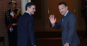 Spain's Prime Minister Pedro Sanchez learned English in Dublin and once attended a Shamrock Rovers match, he told Taoiseach Leo Varadkar at their meeting in Madrid on Thursday. Photograph: REUTERS/Susana Vera
