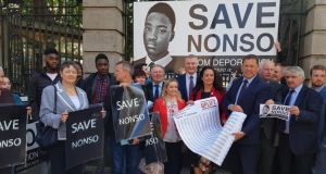 Supporters of   Nonso Muojeke gathered at Leinster House on Thursday to hand in a petition to the Minister for Justice Charlie Flanagan. The supporters are concerned the Co Offaly teenager could be deported to his native Nigeria. Image: UpliftIRL/Twitter.
