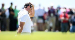 Rory McIlroy shot an opening round of 80 at the US Open. Photograph: Ross Kinnaird/Getty