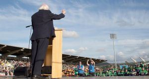 President of Ireland Michael D. Higgins speaks on stage to the athletes at the opening of the Special Olympics Ireland Games on Thursday. Photograph: Tommy Dickson/Inpho.