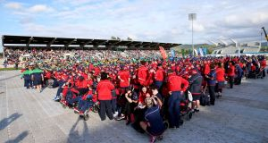 Participants in the Special Olympics Ireland Games gather at the opening ceremony in  Tallaght Stadium, Dublin on Thursday evening. Photograph: Niall Dickson/INPHO.