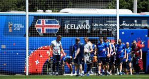 Iceland's players arrive for their first training session at Olimp Stadium in Kabardinka. Photograph: Getty Images