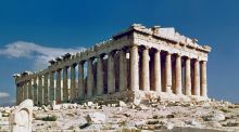 The Parthenon: the observer sees the eight columns of the façade as a perfectly regular array, but this is achieved by deliberately introducing subtle distortions.