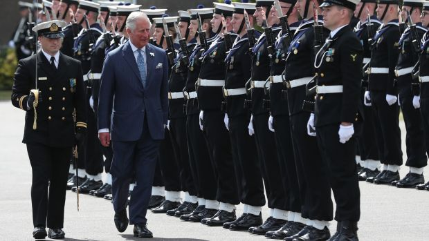 Prince Charles inspects guard of honour during a visit to the Naval Base in Cork. Photograph: Steve Parsons/PA Wire