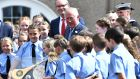 Prince Charles meets school children during a visit to Cork Naval Base. Photograph: Charles McQuillan/PA Wire