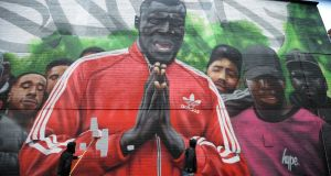 Subset's Stormzy mural in Smithfield, Dublin, is painted over. Photograph: Dara Mac Dónaill/The Irish Times