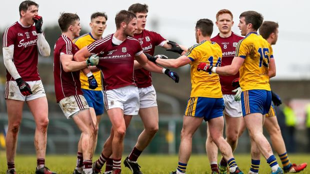Tempers flare between Roscommon and Galway players during the Connacht FBD League final at Hyde Park in February. Photograph: Laszlo Geczo/Inpho