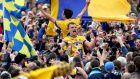 Roscommon's Enda Smith and Donal Smith celebrate with supporters last year's Connacht final victory over Galway at Pearse Stadium. Photograph: Bryan Keane/Inpho