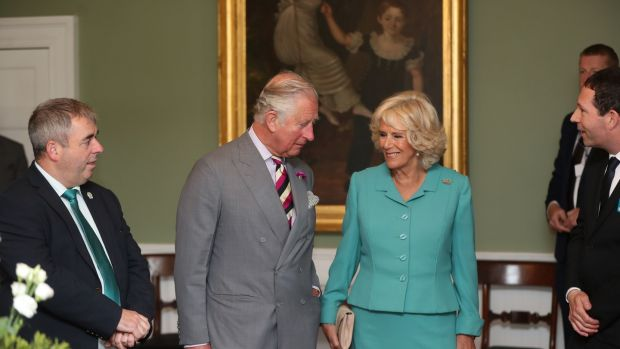 The Prince of Wales and the Duchess of Cornwall shown around Derrynane House. Photograph: Niall Carson/PA Wire