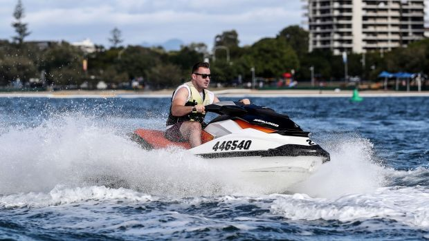 Niall Scannell out jet skiing on the Gold Coast in Queensland during the tour to Australia. Photograph: Dan Sheridan/Inpho