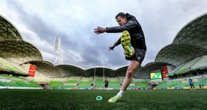 Johnny Sexton practices his goal-kicking during the Captain's Run. Photograph: Dan Sheridan/Inpho
