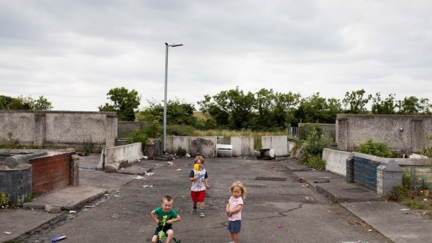 Thomas Ward,Tom Ward and Pearl Rose Ward playing at St Mary's Halting Site, Cappagh Road, Finglas, Dublin. Photograph: Tom Honan