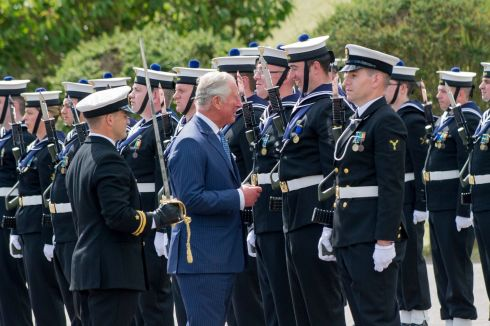 Prince Charles runs the rule over a guard of honour during his visit to Haulbowline Naval Base, Cork. Photograph: Daragh Mc Sweeney/Provision