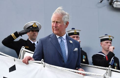 Prince Charles at Cork Naval Base. The prince and Duchess of Cornwall are paying a four-day visit to Northern Ireland and the Republic.  Photograph: Charles McQuillan/Getty Images