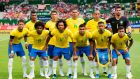 Back row, from left: Paulinho, Thiago Silva, Danilo, Joao Miranda and Alisson Ramses Becker. Front, from left: Neymar, Willian, Marcelo, Casemiro, Gabriel Jesus and Philippe Coutinho Correia. Photograph: Vladimir Simicek/AFP/Getty Images