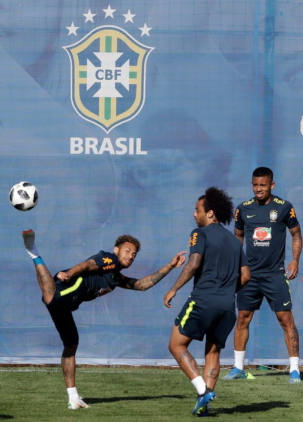 Brazil's Neymar, left, Marcelo, centre, and Gabriel Jesus, practise during a training session in Sochi. Photograph: Andre Penner/AP