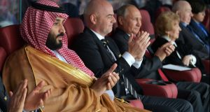 Mohammad bin Salman,  Fifa president Gianni Infantino and Russian president Vladimir Putin at the World Cup opening ceremony. Photograph: Alexei  Druzhinin/EPA