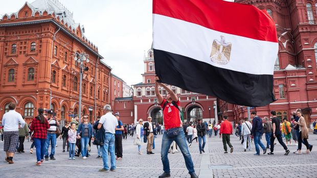 Peruvian fans in party mood near Red Square in Moscow. Photograph: Oleg Nikishin/Getty Images