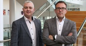 AuriGen Medical founders Tony O'Halloran, chief technology officer, and chief executive John Thompson at their office in NUI Galway. Photograph: Aengus McMahon