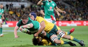 Ireland's Tadhg Furlong scores his side's second try. Photograph: Dan Sheridan/Inpho