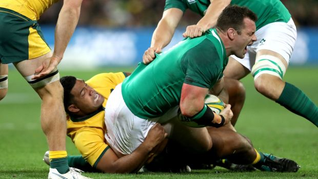 Ireland's Cian Healy is injured in the tackle by Scott Sio of Australia during the second Test in Melbourne. Photograph: Dan Sheridan/Inpho