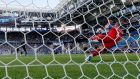 Hannes Halldorsson of Iceland saves  Lionel Messi's penalty during the 1-1 draw in Moscow.  Photograph: EPA