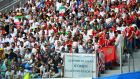 A banner displayed  during the Group B World Cup meeting between Iran and Morocco at  Saint Petersburg Stadium on Friday. Photograph: Dylan Martinez/Reuters