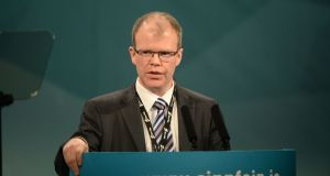 Peadar Tóibín TD, pictured at the Sinn Féin ard fheis in 2015, did not speak during the party's debate on Saturday on changing  its  policy toward  abortion. Photograph: Dara Mac Donaill