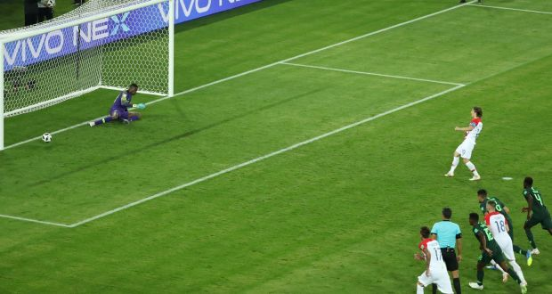 fd0186af0 Croatia s Luka Modric scores their second goal from the penalty spot during  the World Cup Group