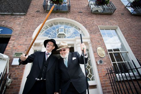 John Shevlin, as the character Joyce and Senator David Norris at the Bloomsday Breakfast at the James Joyce Centre. Photo: Tom Honan.